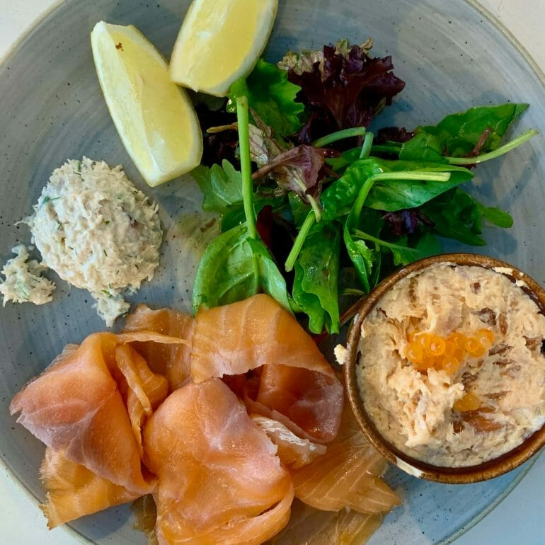 Smoked salmon, trout pate and crab meat