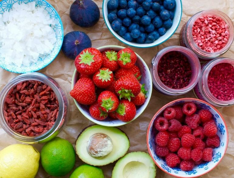 Berries, avocado and other healthy foods (except for the sugar-laden figs)