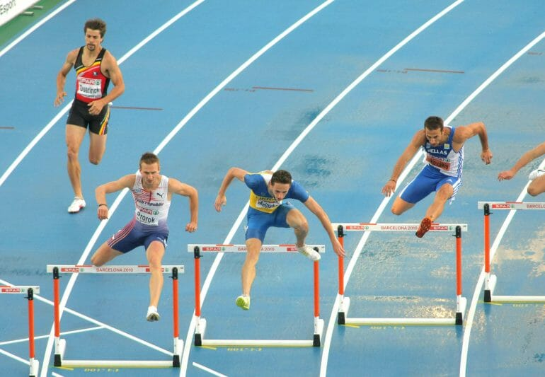 A 400m hurdles sprint is primarily powered by the glycolytic system