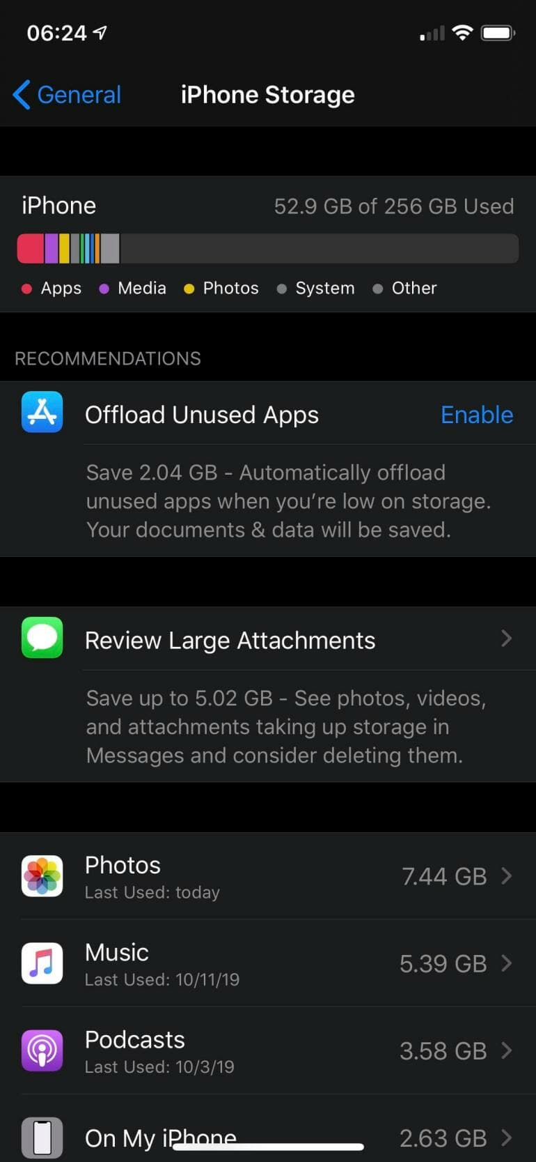 iPhone Storage: Offload Unused Apps and Review Large Attachments