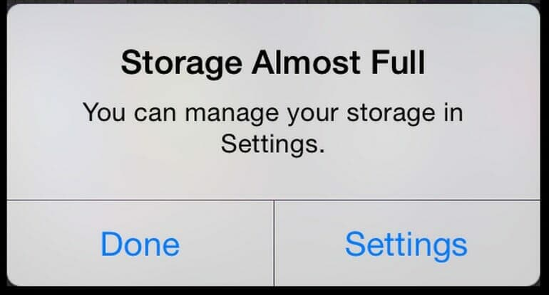 A familiar dialog for some users: Storage Almost Full: You can manage your storage in Settings.