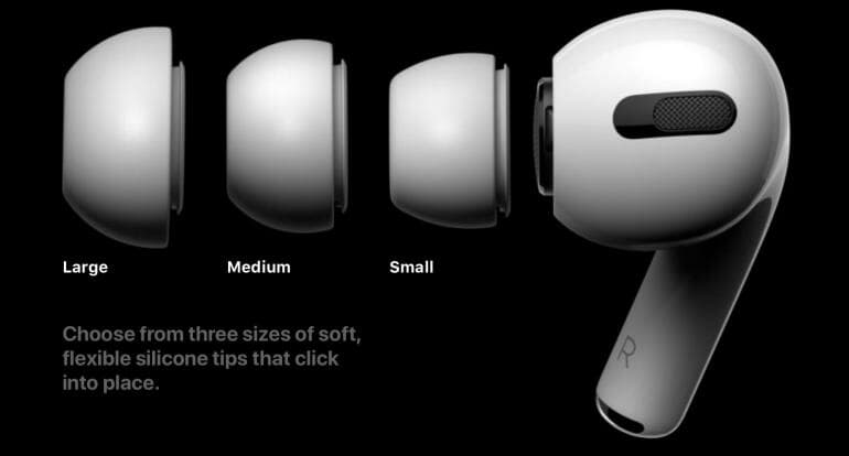 Different sized ear tips of the AirPods Pro