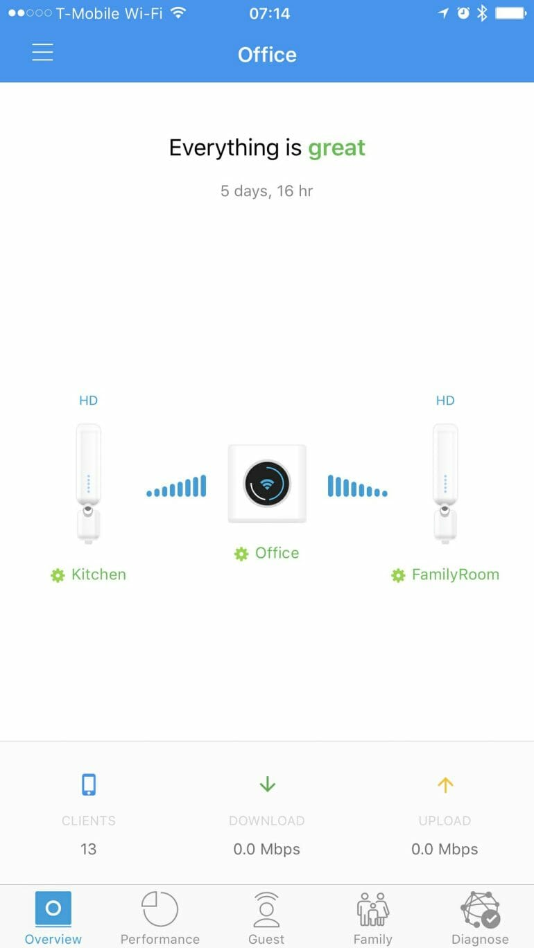 AmpliFi signal strength between router and MeshPoints.
