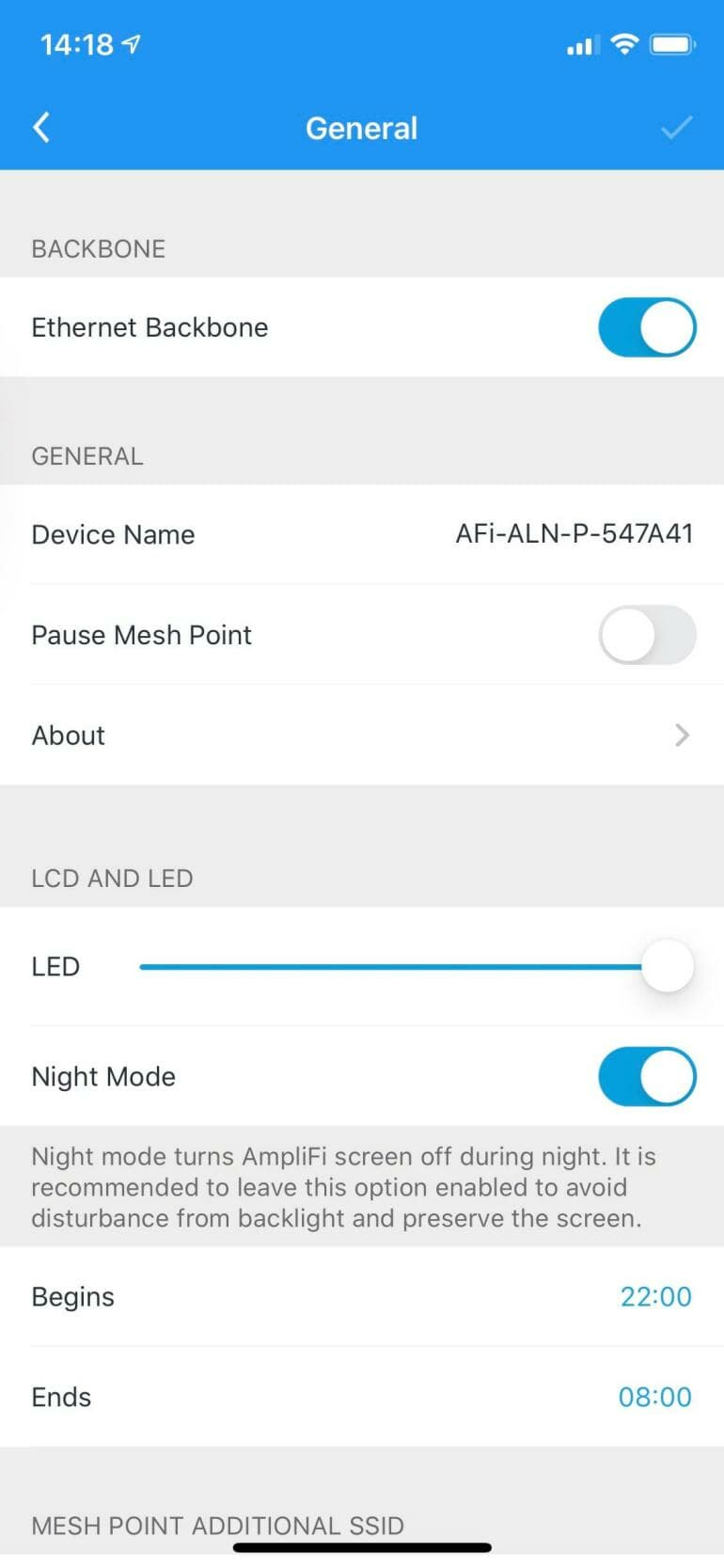 AmpliFi app - Ethernet backbone switch