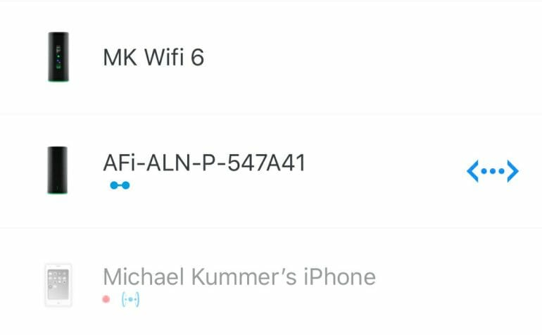 AmpliFi app shows working ethernet backbone