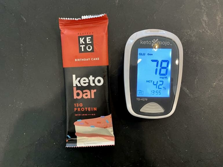 Blood glucose test before eating Perfect Keto bar
