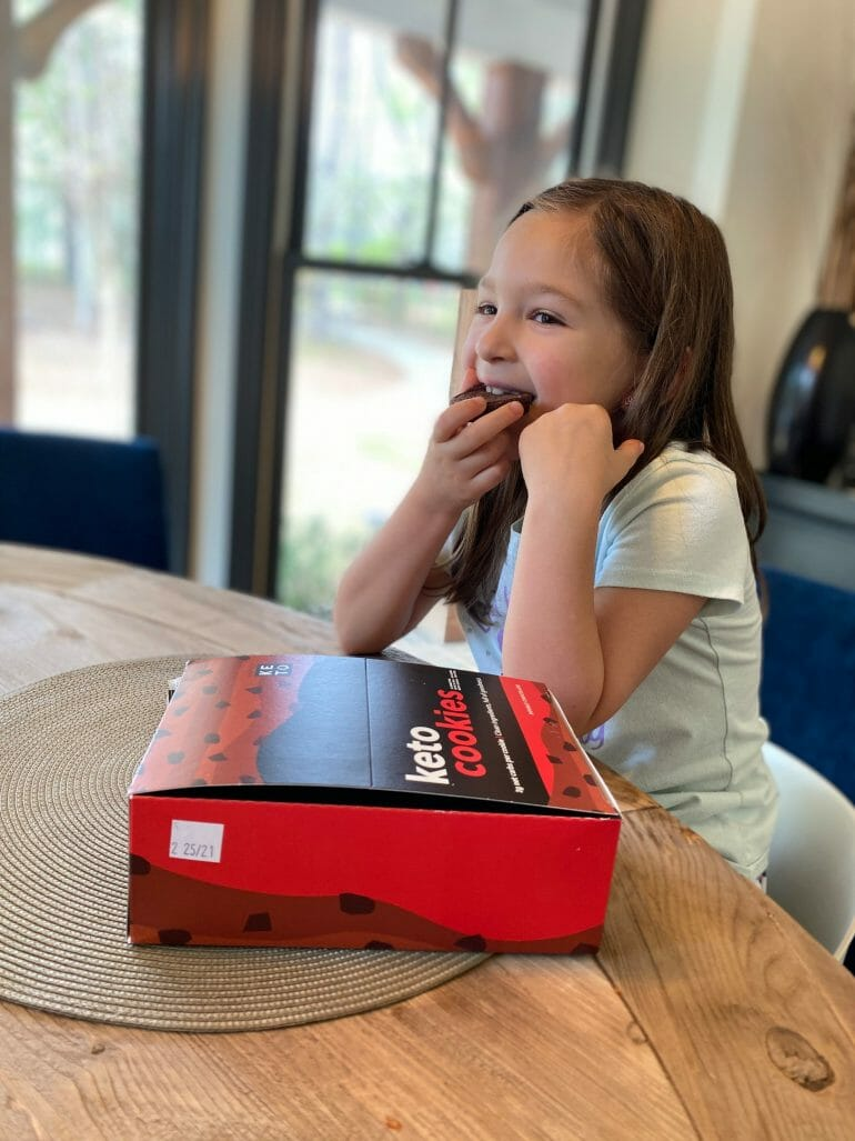 Isabella enjoying a Keto Cookie