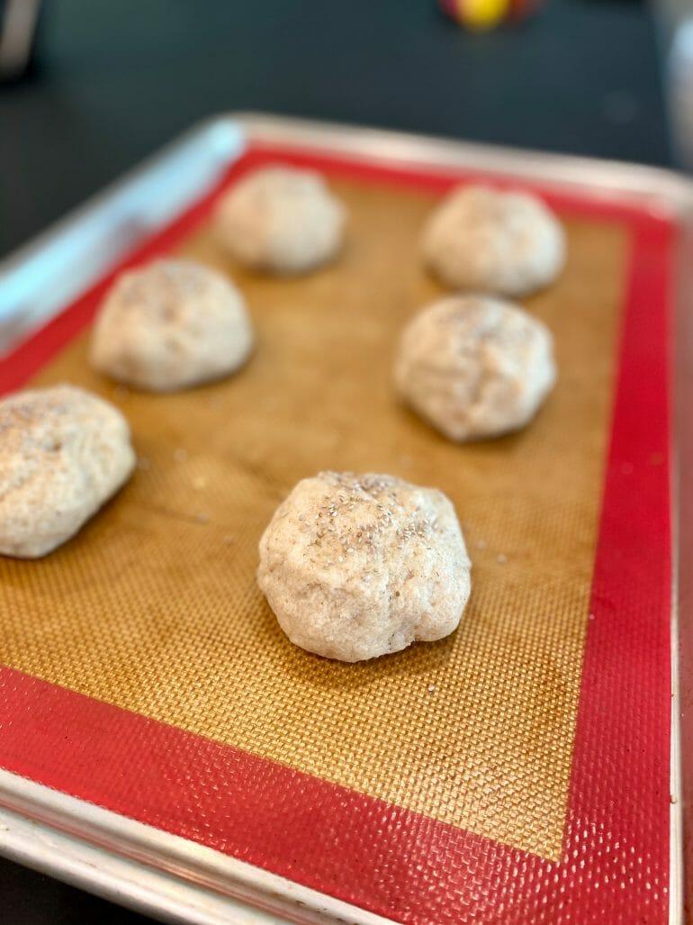Keto bread rolls - dough on baking sheet - 2