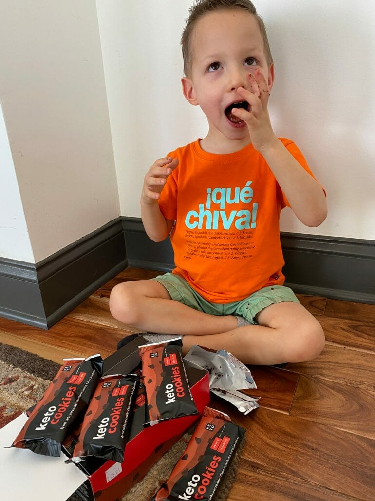Lucas enjoying his Keto Cookies