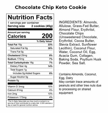 Perfect Keto - Chocolate Chip Keto Cookie - Label