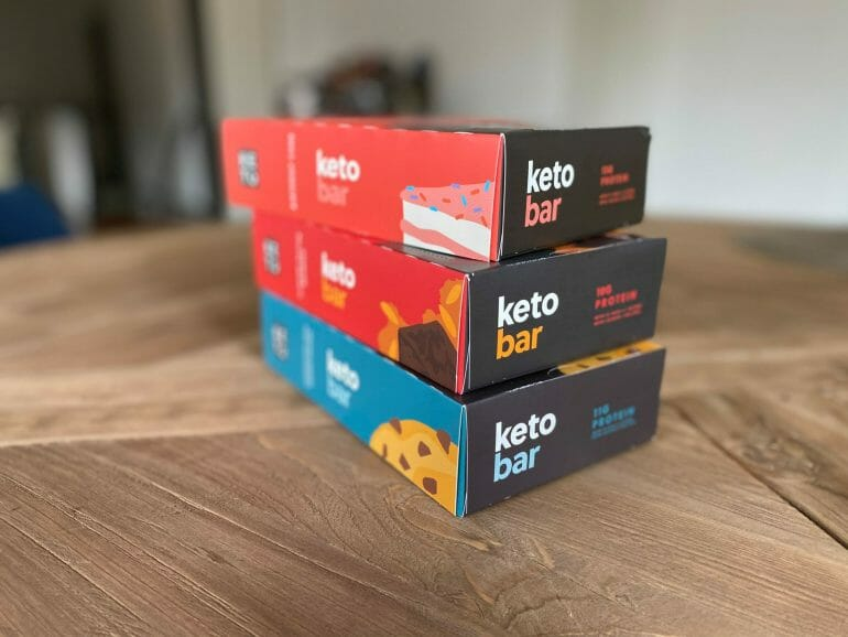 Three boxes of Perfect Keto bars