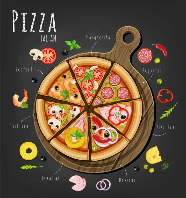 Different types of pizza