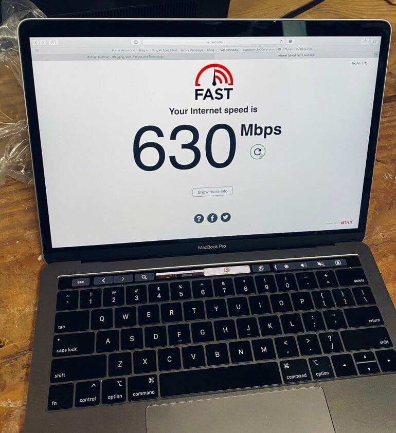 Speed test on MacBook Pro