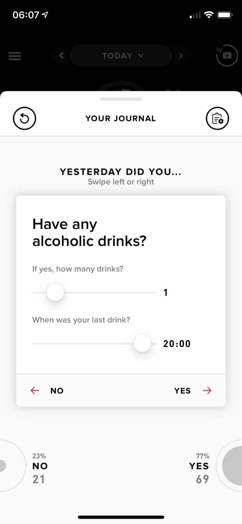 WHOOP Journal - Alcohol consumption