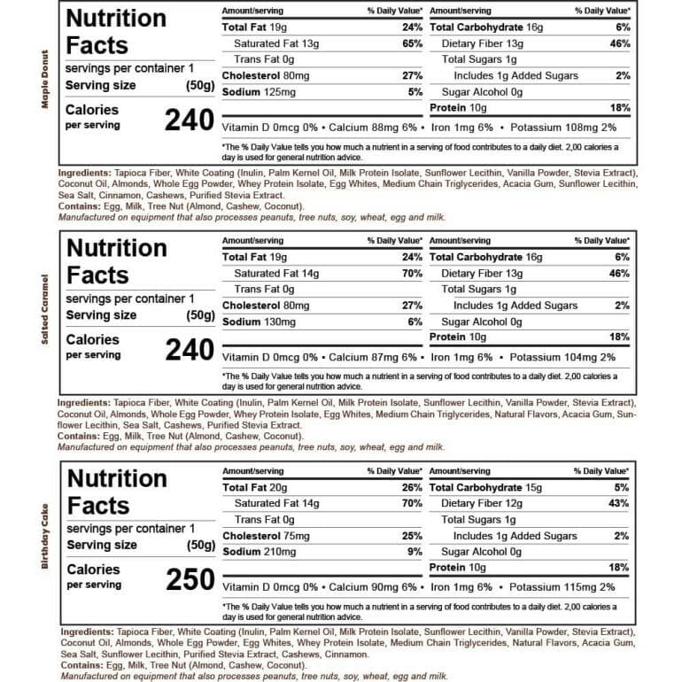 Kiss My Keto White Bars Nutrition Facts