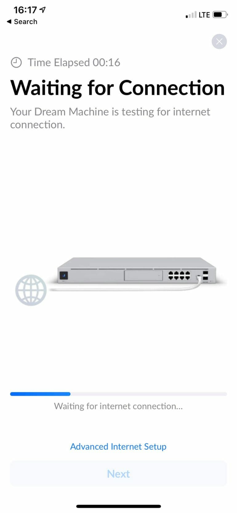 UniFi Dream Machine setup - Waiting for IP address