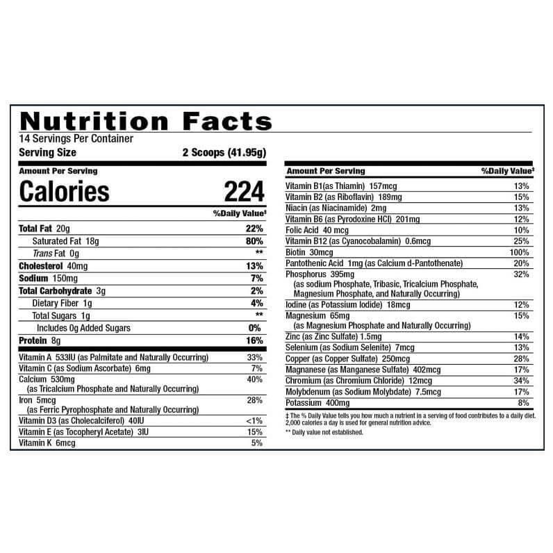 Keto Science Nutrition Label