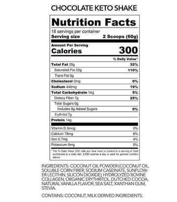 Ketologie Nutrition Label
