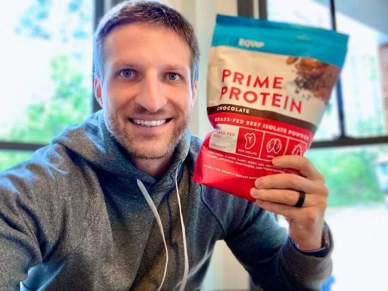 Michael holding Equip Prime Protein