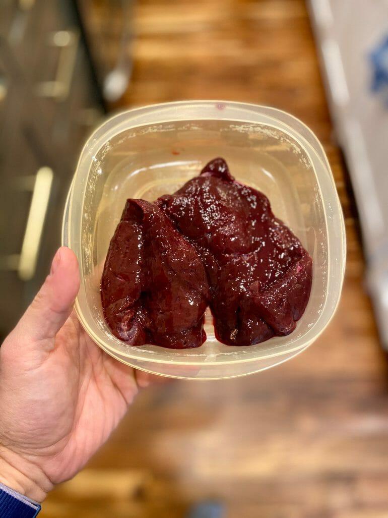 Raw pastured beef liver