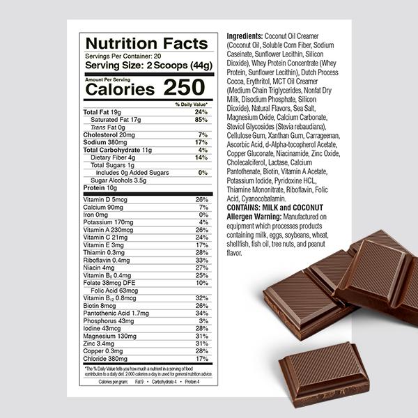 Ketologic Nutrition Label