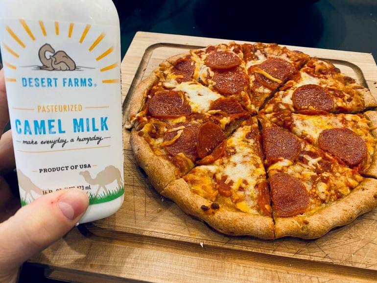 Almond flour pizza and camel milk