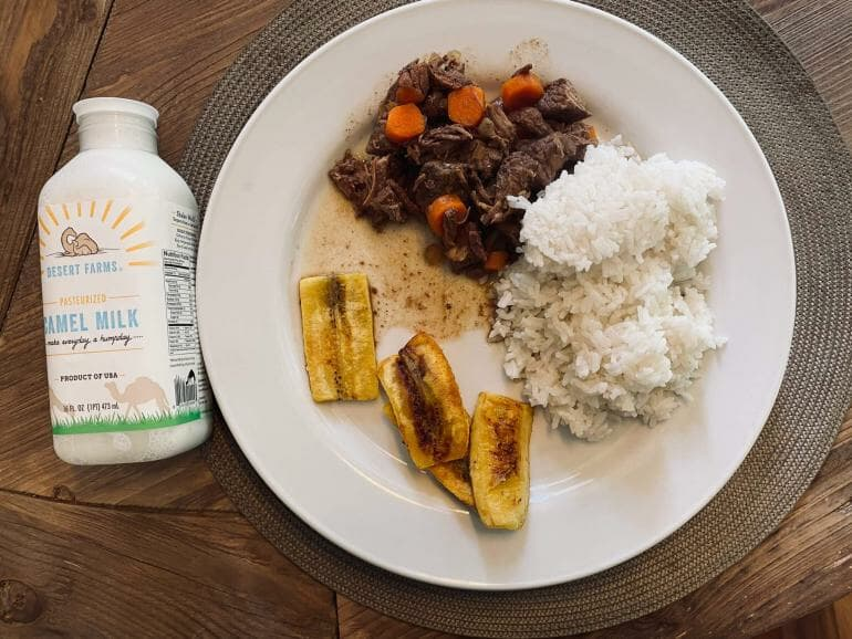 High carb meal consisting of rice, sweet plantains and meat