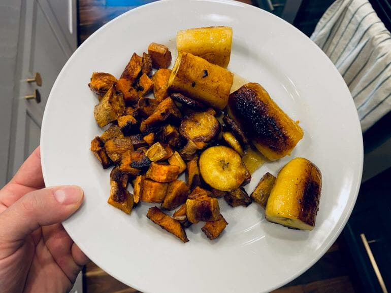 High carb meal consisting of sweet potatoes and sweet plantains