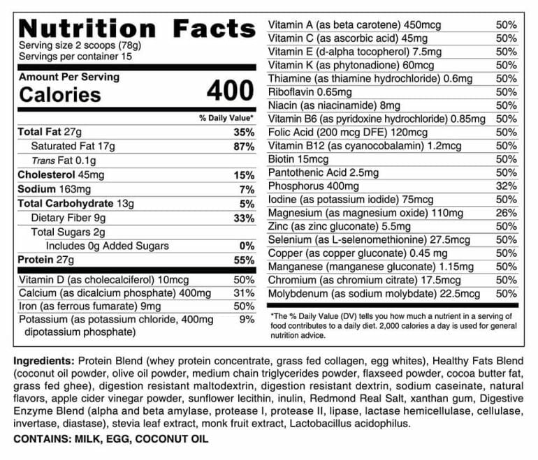 HLTH Code nutrition facts - vanilla