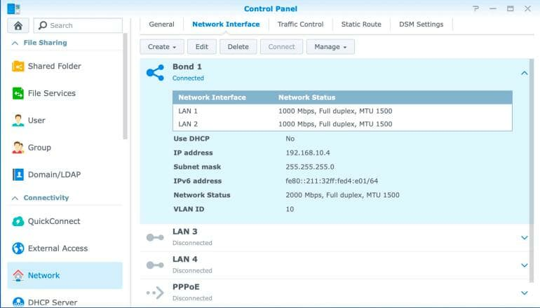 Synology DS1520+ - Bonded Network Interface