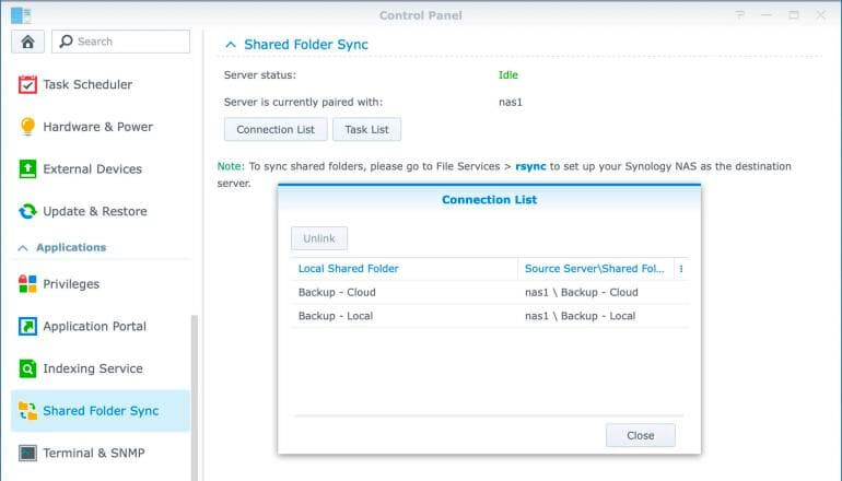 Synology DS1520+ - Shared Folder Sync