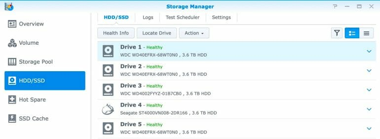 Synology DS1520+ - Storage Manager - HDDs