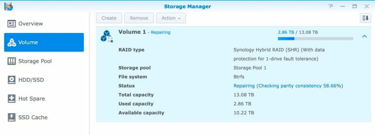 Synology DS1520+ - Storage Manager - Volume
