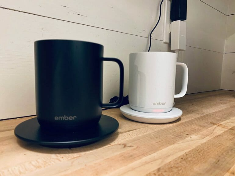 We charge our Ember Mugs in the pantry overnight - close up