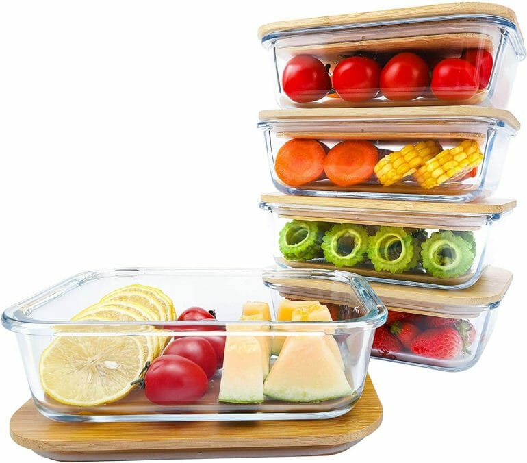 Glass food storage containers with bamboo lids