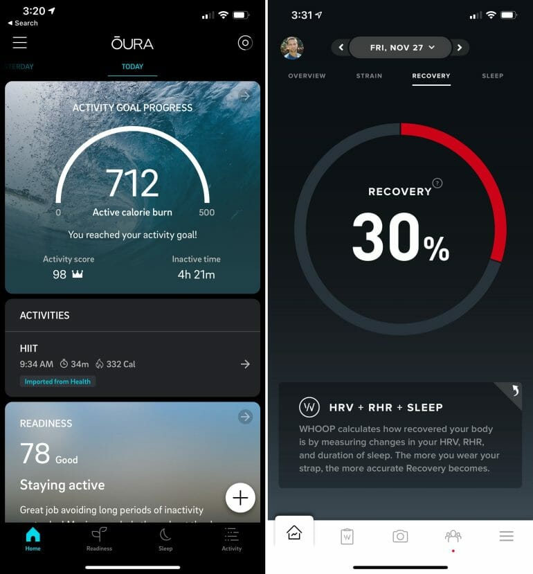 Oura Readiness vs. WHOOP recovery score