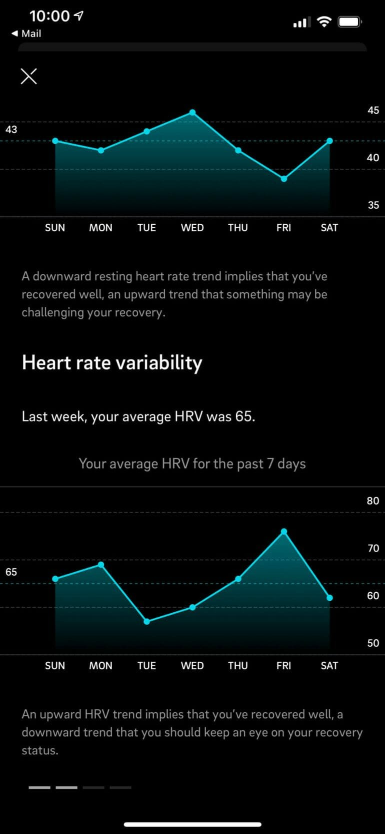 Oura notifies me of sudden changes to my HRV.