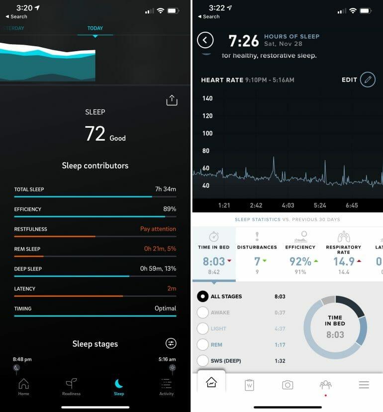 Oura vs. WHOOP sleep analysis