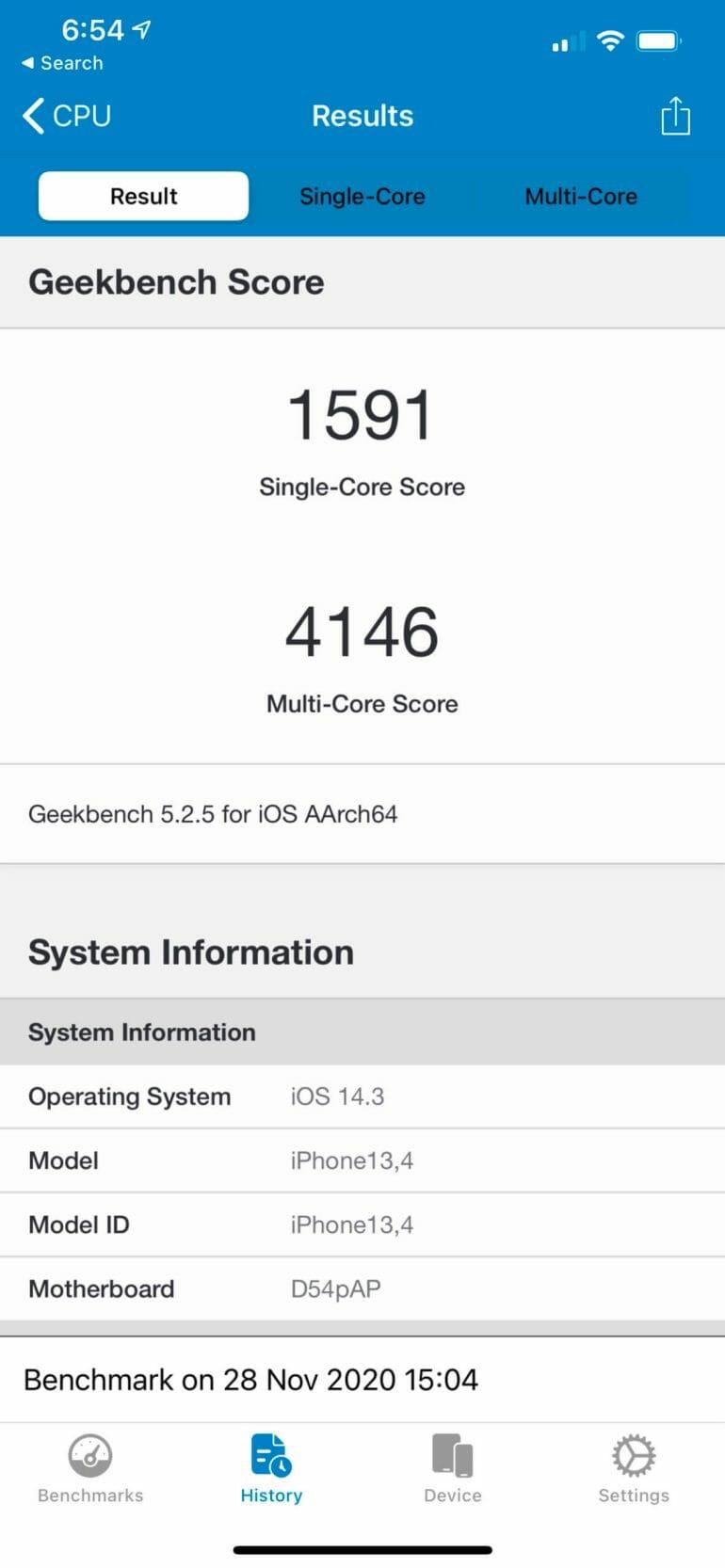 iPhone 12 Pro Max Geekbench Score