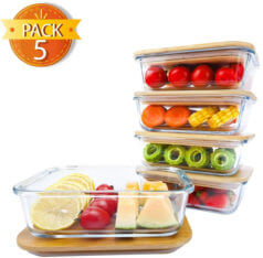Borosilicate Oven Safe Glass Meal prep containers with Bamboo Lids.