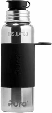 Pura Sport Vacuum Insulated 22 OZ / 650 ML Stainless Steel Water Bottle with Silicone Sport Flip Cap & Sleeve