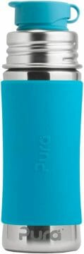 Steel Kids Sport Bottle with Silicone Sport Flip Cap & Sleeve