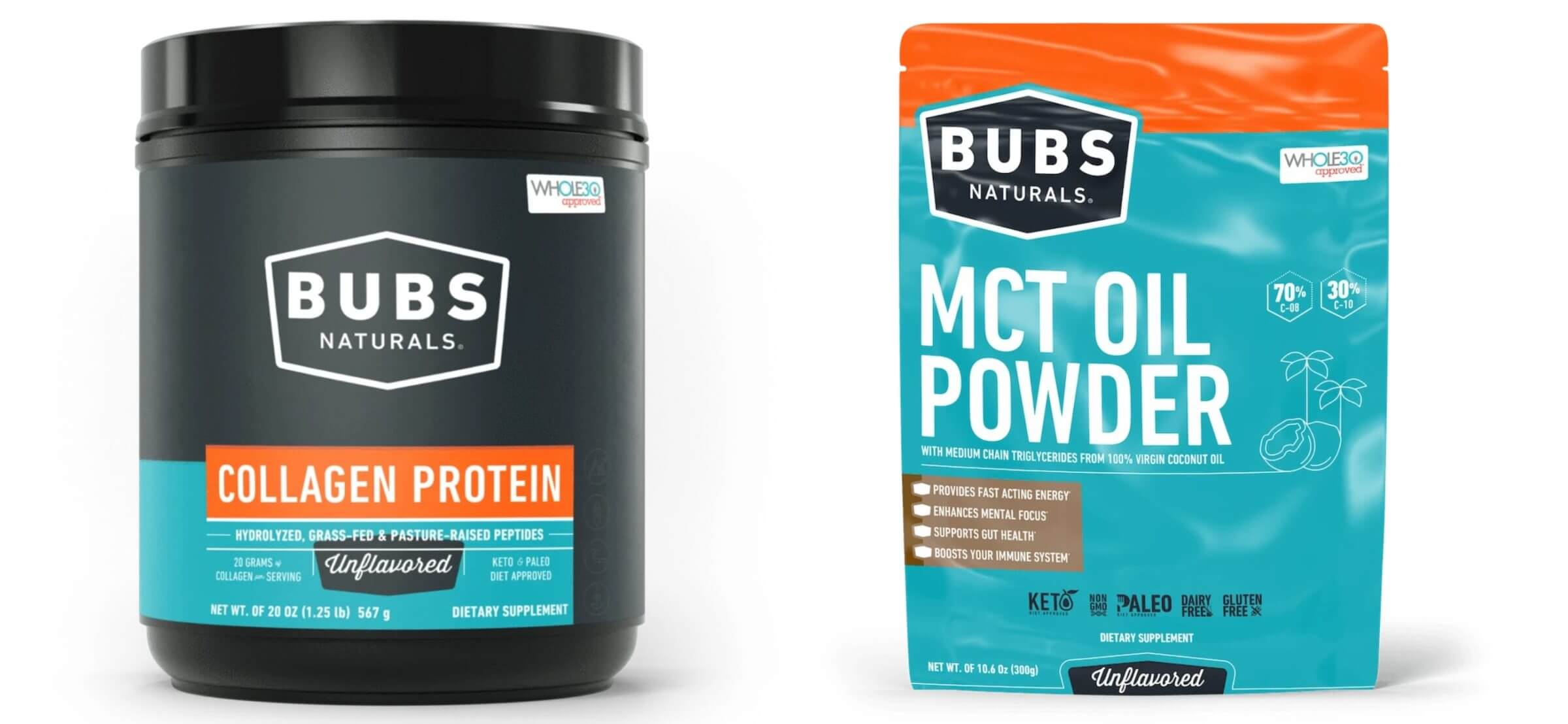 Bubs Naturals MCT Oil Powder and Collagen Protein.