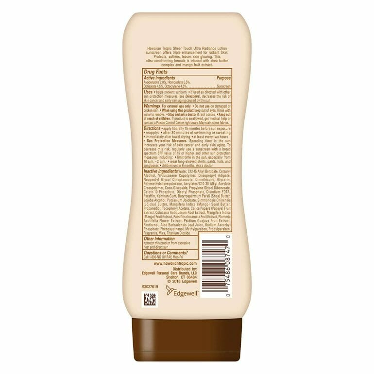 The back of a bottle of Hawaiian Tropic sunscreen, showing its long list of potentially harmful ingredients.