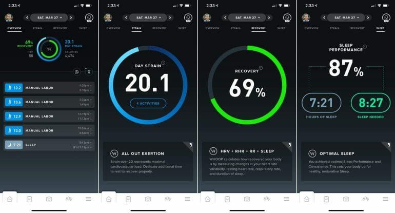 Overview of the WHOOP app.