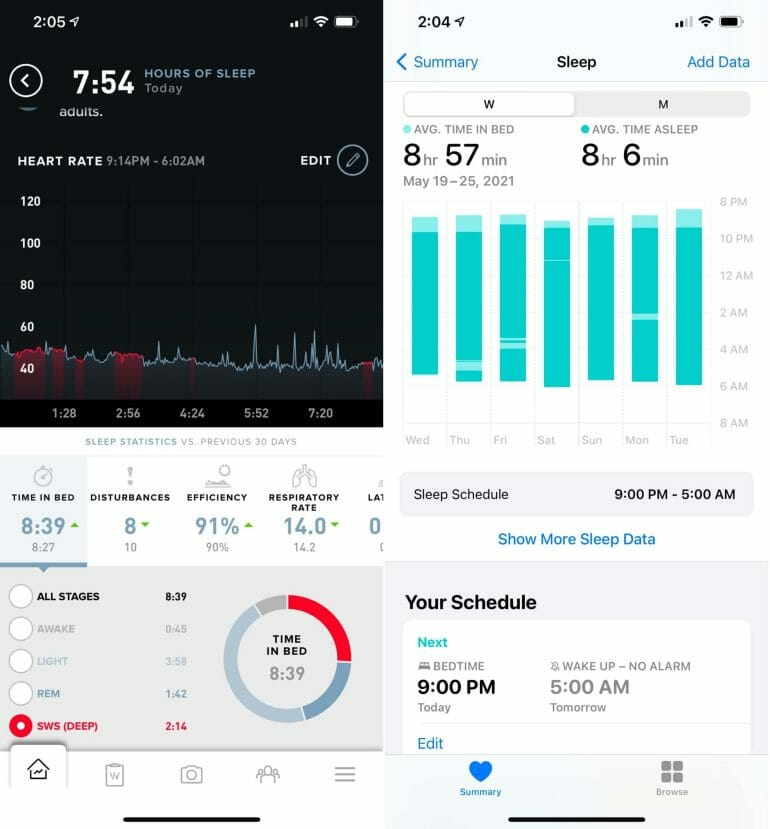 WHOOP sleep analysis (left) vs. Apple Watch (right).