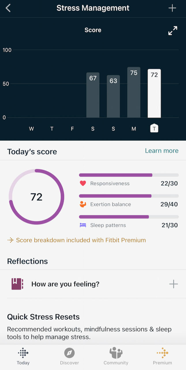 Fitbit's Stress Management score did not reflect how run down my body was during this week