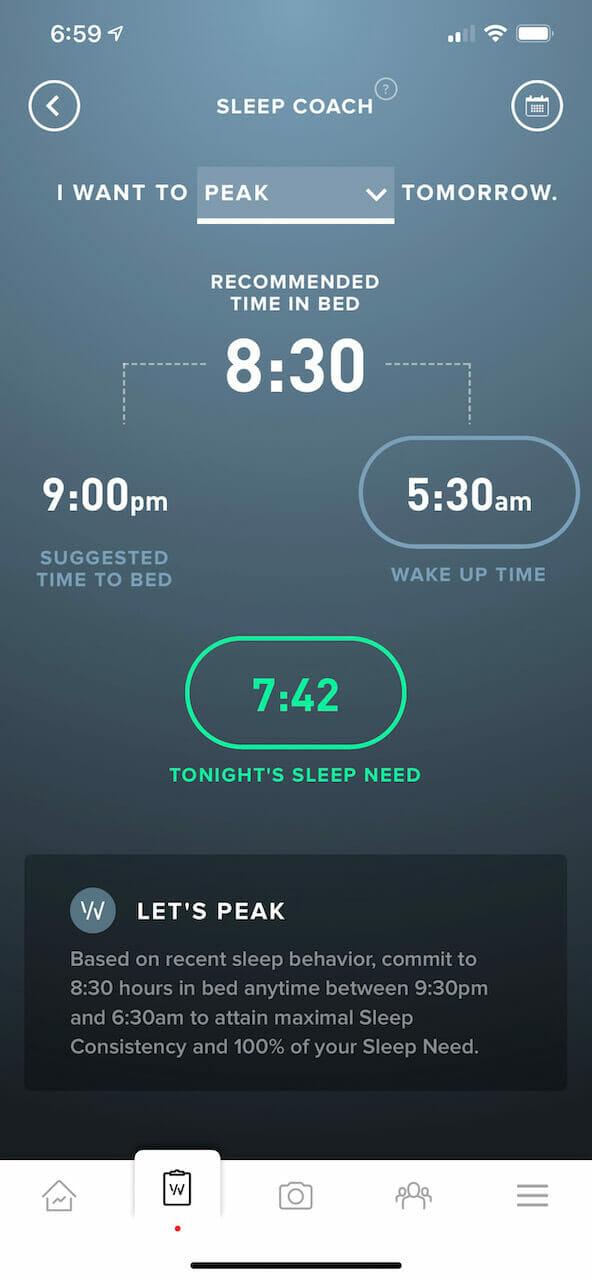 WHOOP's sleep coach calculates my sleep need based on my performance goals and other data.