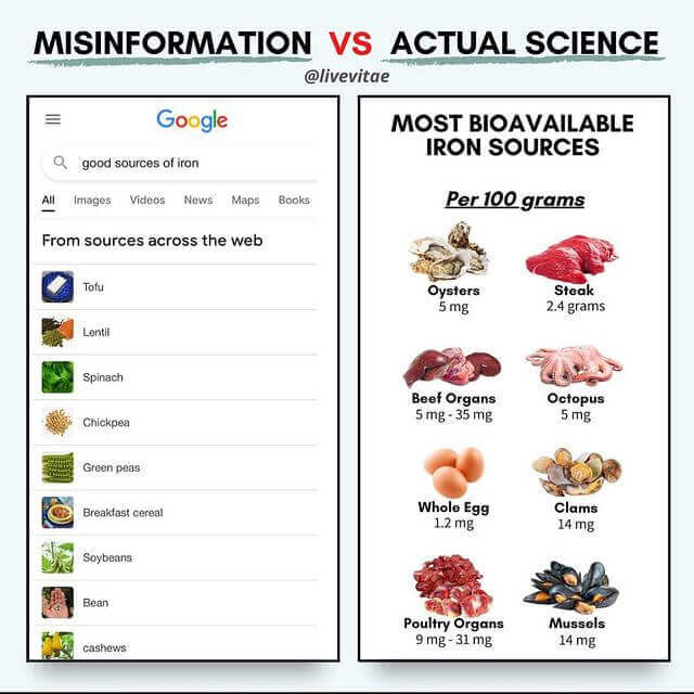 What Google says a good source for iron is vs reality.