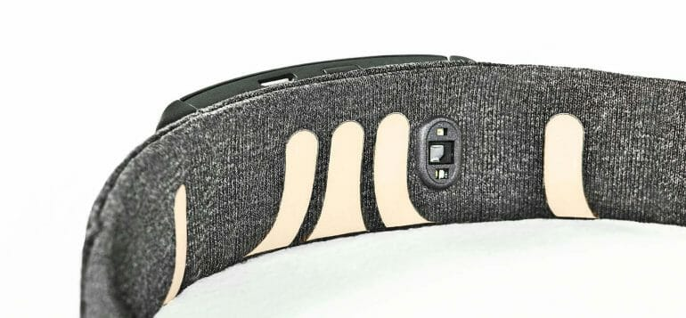 The inside of the Muse S headband features several EEG electrodes made from silver fabric.